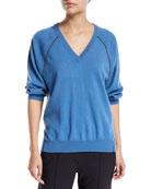 Brunello Cucinelli Cashmere V-Neck Monili-Beaded Split-Hem Sweater