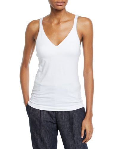 9eacdacd568ac Quick Look. Brunello Cucinelli · Soft Cotton Bra-Top Tank ...