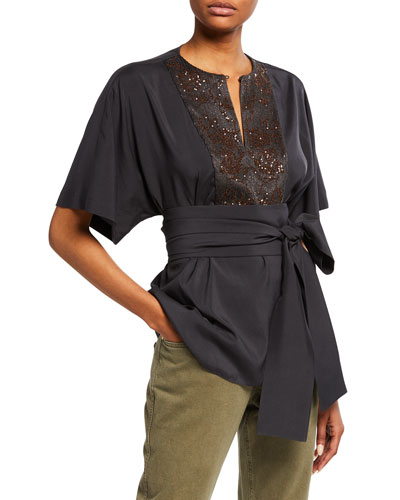 Sequin Floral-Embroidered Bibbed Kimono Blouse