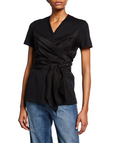 Short-Sleeve Silk Wrapped Cotton Tee
