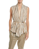 Brunello Cucinelli Sleeveless Striped Silk Wrap Top w/