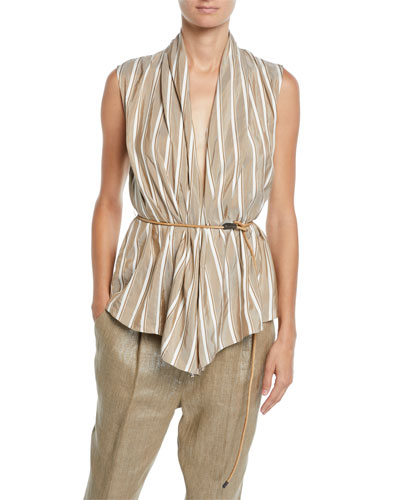 Sleeveless Striped Silk Wrap Top w/ Leather Belt