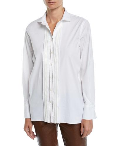 3755d8a9e8bb8 Pleated Long Sleeves Blouse