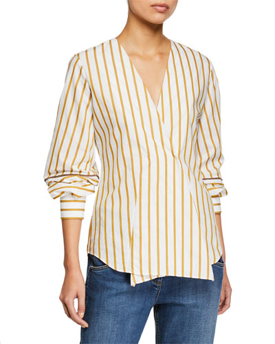 Striped Faux-Wrapped V-Neck Blouse