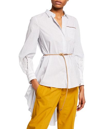 Striped Cotton High-Low Blouse