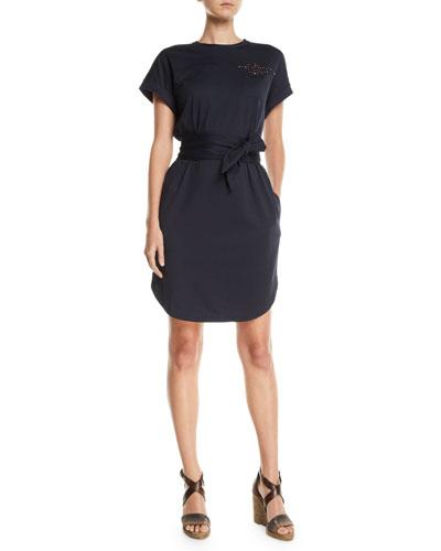3c73d663 Quick Look. Brunello Cucinelli · Beaded Short-Sleeve Tie-Waist Shirtdress