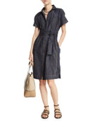 Brunello Cucinelli Chambray Shirtdress with Satin Detail