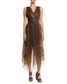 Brunello Cucinelli V-Neck Striped-Sequin Tulle Midi Dress w/