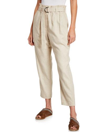 Rustic Linen Ankle-Leg Pants