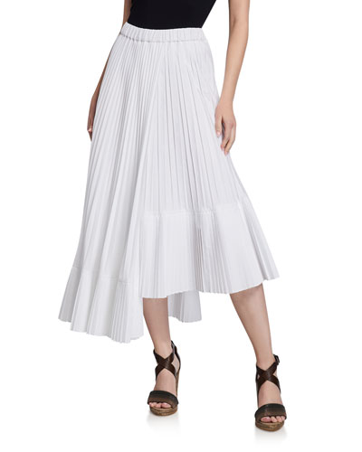 e63a9b6275 Quick Look. Brunello Cucinelli · Cotton Faux Wrap Pleated Midi Skirt.  Available in White