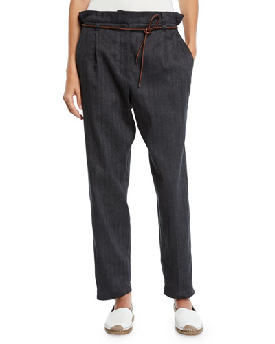 Mid-Rise Cotton-Linen Chevron Straight-Leg Pants