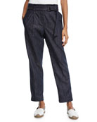 Brunello Cucinelli Denim Straight-Leg Pants w/D-Ring & Monili