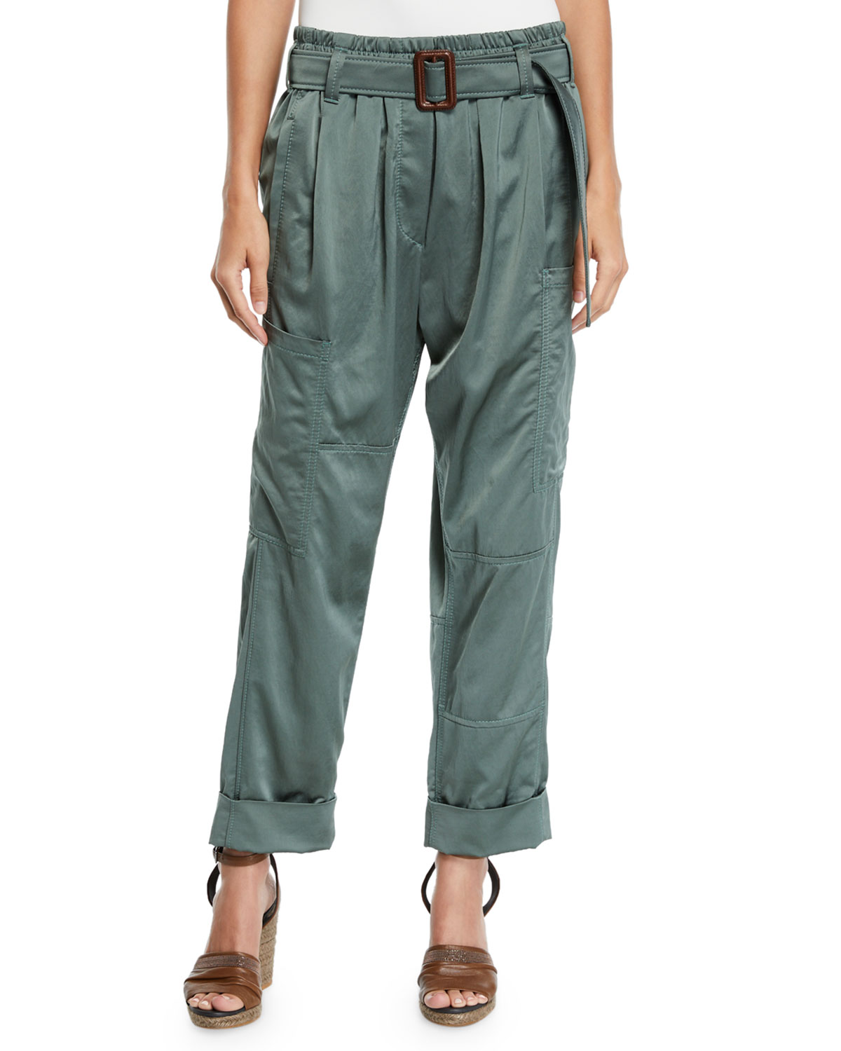 Straight-Leg Satin Pants W/ Wooden D-Ring Belt in Sage