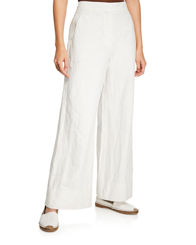 db17c1925b20 Quick Look. Brunello Cucinelli · Metallic-Threaded Cotton Wide-Leg Pants.  Available in White