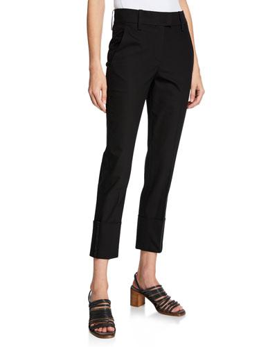 Mid-Rise Cotton Skinny Leg Monili-Cuff Pants
