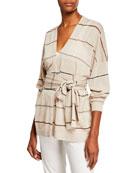 Brunello Cucinelli Striped Linen Wrap-Waist Cardigan