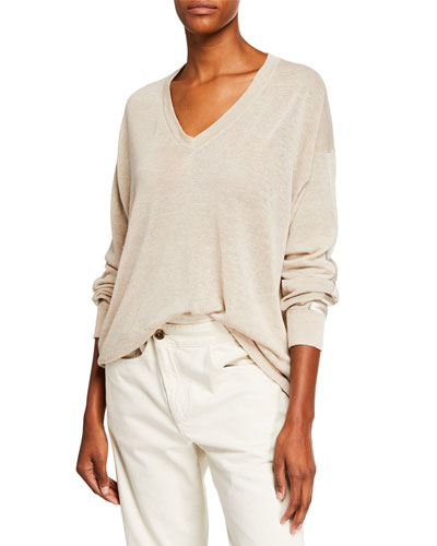 Linen V-Neck Pullover Sweater with Satin Band