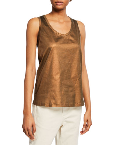 Sleeveless Metallic Cotton Scoop-Neck Top