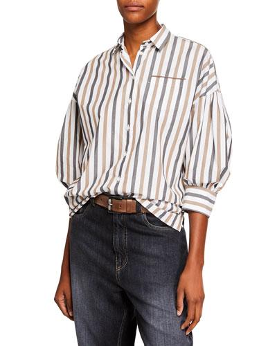 3/4-Sleeve Striped Poplin Blouse with Monili Pocket