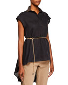 Brunello Cucinelli Linen Cap-Sleeve High-Low Top with Sequined
