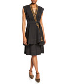 Brunello Cucinelli Wrapped Crispy Cotton Sleeveless Dress