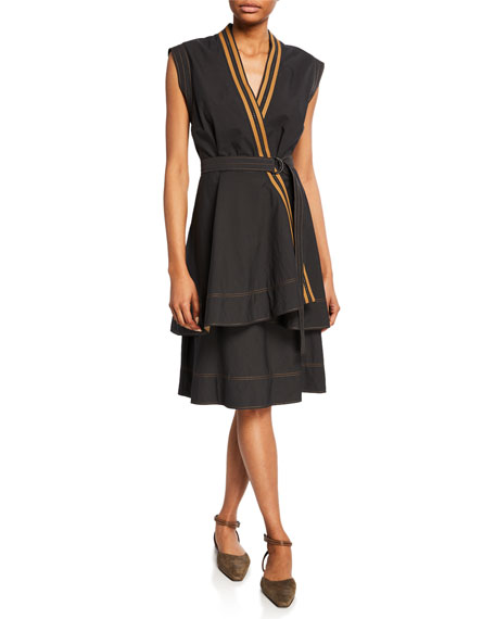 Brunello Cucinelli Wrapped Crispy Cotton Sleeveless Dress
