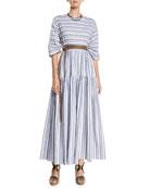 Brunello Cucinelli 3/4-Sleeve Striped Cotton Midi Dress