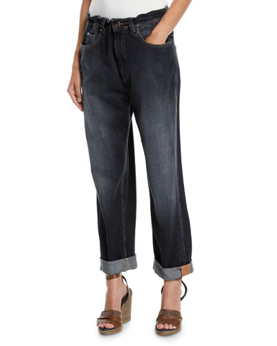 Dark Faded Denim Boyfriend Jeans with Grosgrain Detail