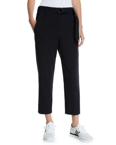 Cotton-Crepe Belted Ankle Pants