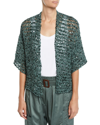 Sequin Net-Knit Belted Cardigan