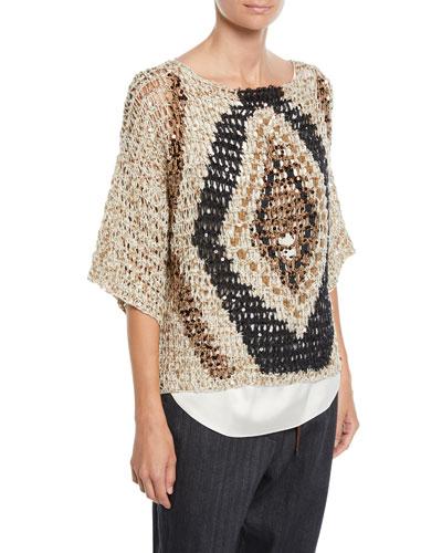 Sequined Open-Weave Diamond 3/4-Sleeve Sweater