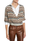 Brunello Cucinelli Sequined Striped Cotton-Net Crop Wrap Cardigan