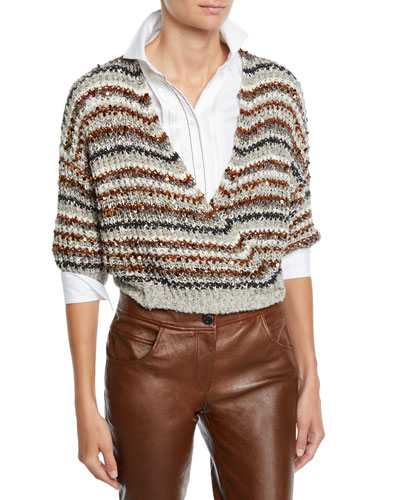 Sequined Striped Cotton-Net Crop Wrap Cardigan