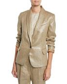 Brunello Cucinelli Metallic-Linen One-Button Blazer Jacket