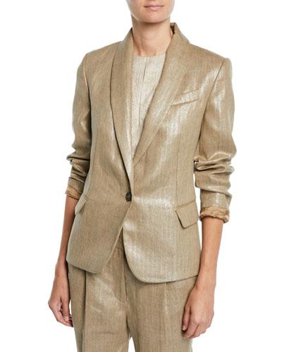 Metallic-Linen One-Button Blazer Jacket