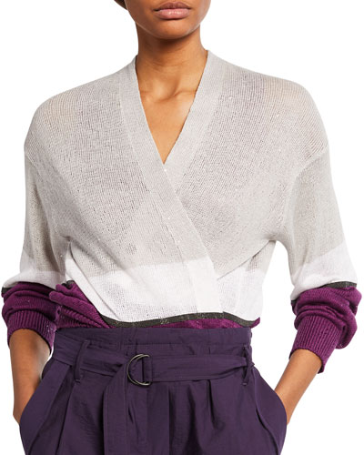 Colorblocked Linen-Silk Cardigan