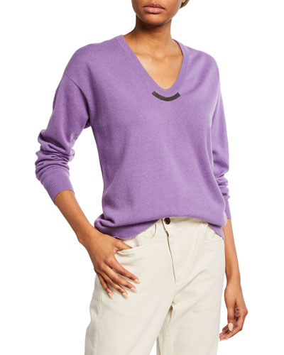 Cashmere Monili-Beaded Crewneck Sweater