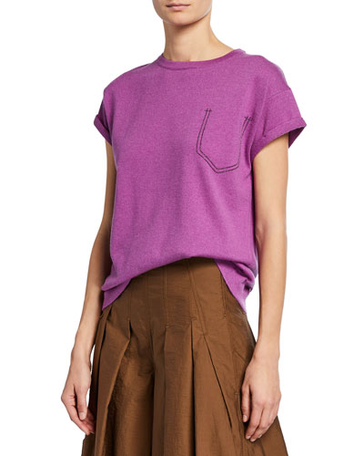 Cashmere Monili Beaded Pocket Tee