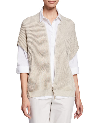 Sleeveless Pailletteed English-Ribbed Cardigan