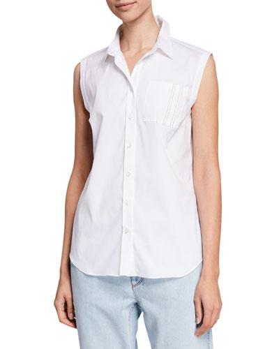 Sleeveless Monili-Pocket Button-Front Poplin Shirt