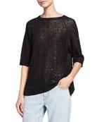 Brunello Cucinelli Linen-Silk Pailletteed Knit Short-Sleeve Tee