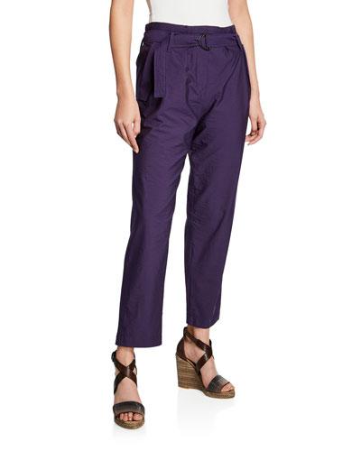 Crinkled Cotton Straight-Leg Utility Pants