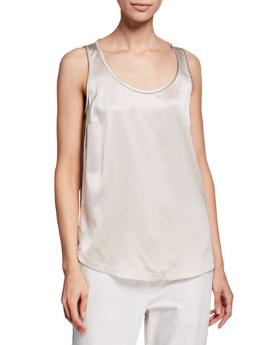 Monili-Beaded Silk Tank