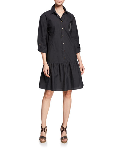 Monili Trim Drop-Waist Crinkle Cotton Shirtdress