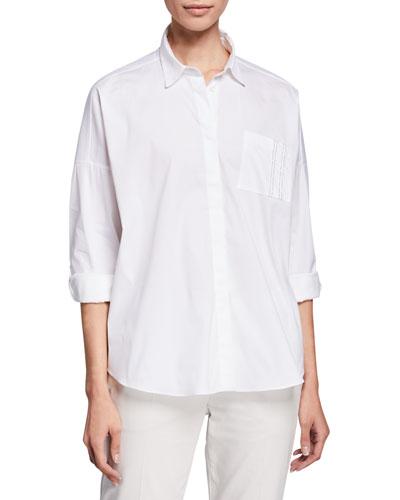 Oversized Button-Front Cotton-Poplin Shirt