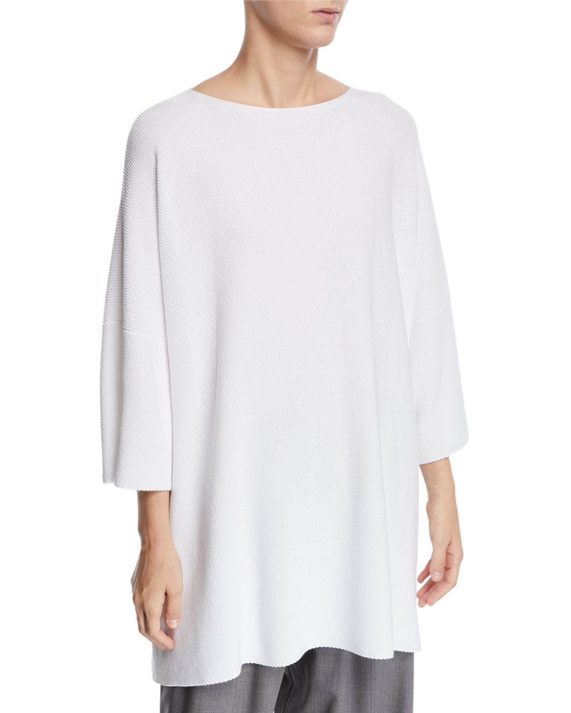 ESKANDAR 3/4-Sleeve Cotton Square Top in White