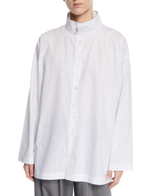 ESKANDAR Slim A-Line Brushstroke Plaid Two-Collar Top in White