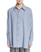 Eskandar Wide-Striped Paneled Button-Front Shirt and Matching