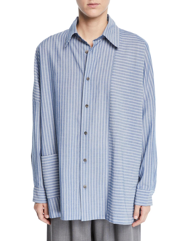ESKANDAR Wide-Striped Paneled Button-Front Shirt in Blue
