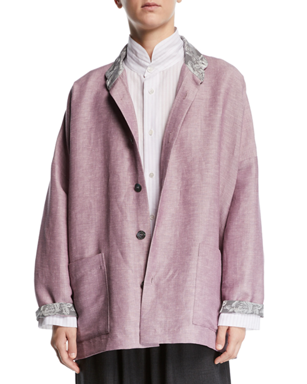 ESKANDAR Lightweight Linen-Wool Jacket in Lilac